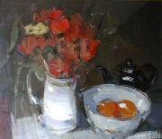Tulips and Black Teapot by Gordon Bryce