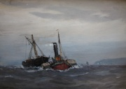 Paddle Tug and Fishing Boat by Ernest Dade