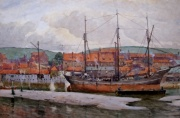 A Three-Master at Low Tide, Whitby by Albert George Stevens