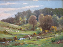 Sheep Grazing above Hinderwell by Ernest Higgins Rigg