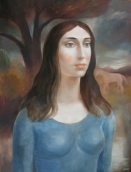 Portrait of a Young Woman in a Landscape with a Horse Beyond by Peter Rogers